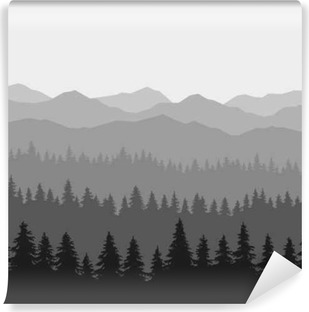 Coniferous Forest and Mountains Background. Vector Vinyl Wall Mural
