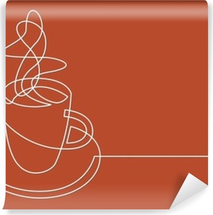 continuous line drawing of cup of coffee Vinyl Wall Mural