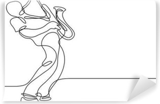 continuous line drawing of saxophone player Vinyl Wall Mural