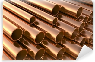 Copper pipes on warehouse. 3d illustration Vinyl Wall Mural