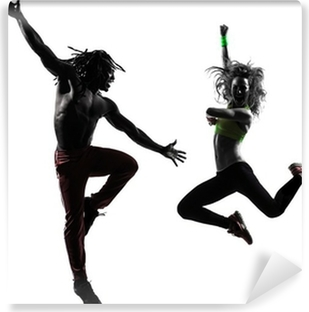 couple man and woman exercising fitness zumba dancing silhouette Vinyl Wall Mural