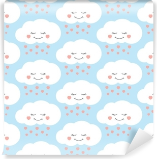 Cute baby cloud pattern vector seamless  Children print with