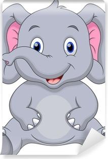 Cute baby elephant cartoon Vinyl Wall Mural