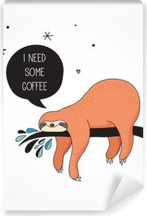 Cute hand drawn sloths illustrations, funny vector card design Vinyl Wall Mural