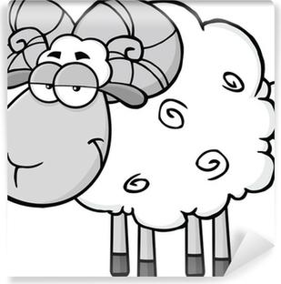 Black Head Sheep Cartoon Mascot Character Jumping Wall Mural