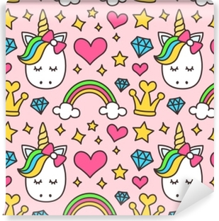 Cute unicorn, princess concept, girl beauty seamless pattern isolated on pink background. Vector cartoon design. Magic, fairy tale, heart, rainbow, crown, stars, diamond Vinyl Wall Mural