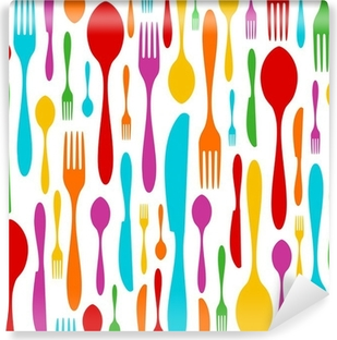 Cutlery colorful pattern on white Vinyl Wall Mural