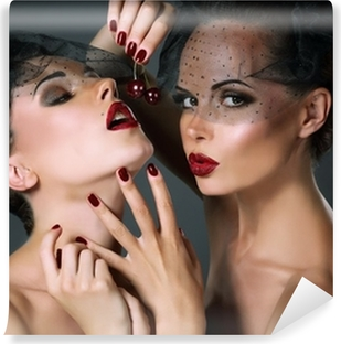 Dainty. Two Provocative Women with Cherry Berries. Temptation Vinyl Wall Mural