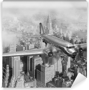 DC-3 Over NYC Vinyl Wall Mural