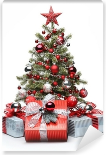 Decorated Christmas tree and gifts Vinyl Wall Mural