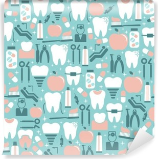 Dental Care Graphics on Blue Background Vinyl Wall Mural