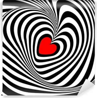 Design heart whirl illusion background Vinyl Wall Mural