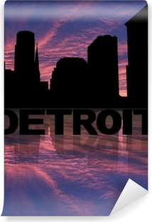 Detroit skyline reflected with text and sunset illustration Vinyl Wall Mural