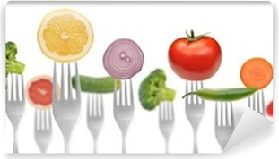 diet concept.vegetables and fruits on the collection of forks Vinyl Wall Mural