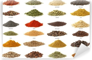Different spices isolated on white background. Large Image Vinyl Wall Mural