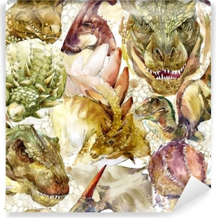 Dinosaurs seamless pattern. hand-drawn watercolor illustration Vinyl Wall Mural