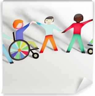 Disabled. Family concept with wheelchair- paper dolls Vinyl Wall Mural