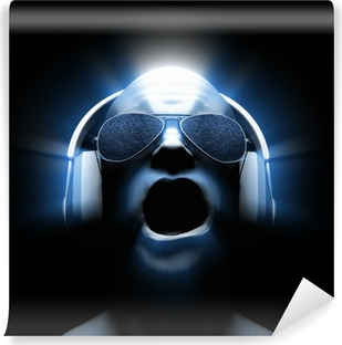 DJ with Headphones Vinyl Wall Mural