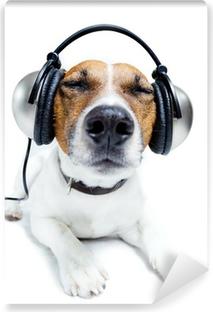 Dog listening music Vinyl Wall Mural