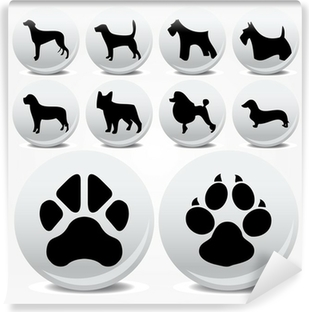 Dogs collection vector icons and footprints Vinyl Wall Mural