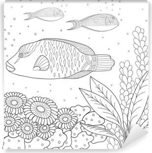 Doodle Pattern In Black And White Marine For Coloring Book Sea Fish
