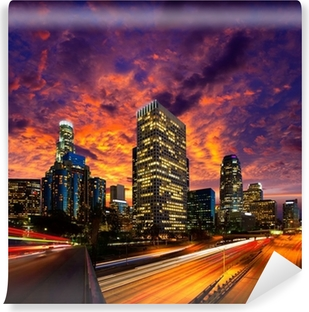 Downtown LA night Los Angeles sunset skyline California Vinyl Wall Mural