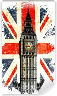 drapeau anglais big ben vertical Vinyl Wall Mural