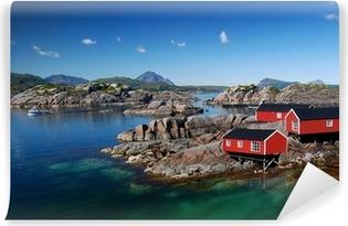 Drei Rorbu Blockütten am Fjord Vinyl Wall Mural