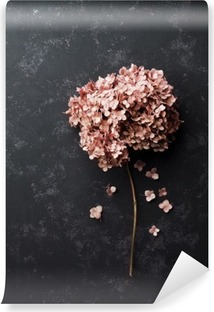 Dried flowers hydrangea on black vintage table top view. Flat lay styling. Vinyl Wall Mural