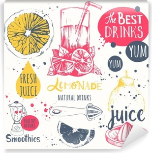 Drinks in sketch style. Useful natural juices and smoothies. Vinyl Wall Mural