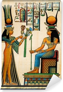 Egyptian papyrus showing the gods Re Harakhte and Hathor Wall Mural