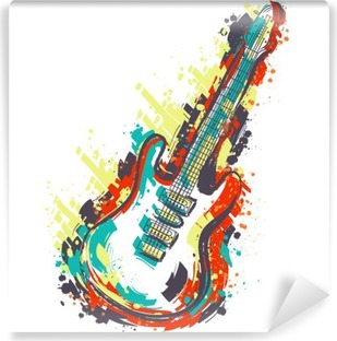 Electric guitar. Hand drawn grunge style art. Retro banner, card, t-shirt, bag, print, poster.Vintage colorful hand drawn vector illustration Vinyl Wall Mural