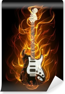 Burning guitar Wall Mural Pixers We live to change