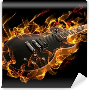 Electric guitar in fire and flames Vinyl Wall Mural