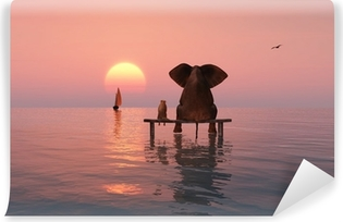 elephant and dog sitting in the middle of the sea Vinyl Wall Mural