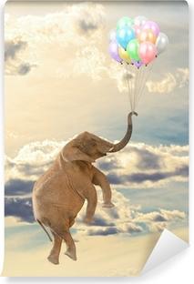 Elephant Flying With Balloon Vinyl Wall Mural