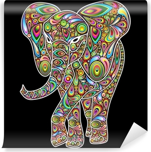 Elephant Psychedelic Pop Art Design on Black Vinyl Wall Mural