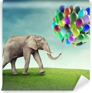 Elephant with balloons Vinyl Wall Mural