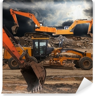 Excavator and grader Vinyl Wall Mural