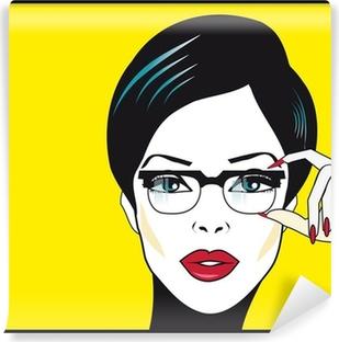 Eyewear glasses woman closeup portrait. Woman wearing glasses ho Vinyl Wall Mural