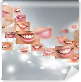 Faces of smiling people in set. Healthy teeth. Smile Vinyl Wall Mural