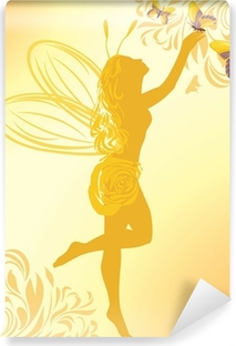 Fairy and butterflies on a yellow background Vinyl Wall Mural