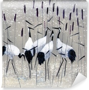 family of cranes Vinyl Wall Mural