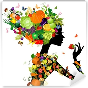 Fashion girl with hair from fruits for your design Vinyl Wall Mural