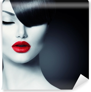 Fashion Glamour Beauty Girl With Trendy Fringe Hairstyle Vinyl Wall Mural
