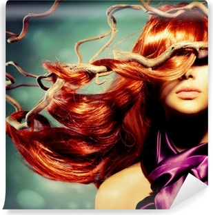 Fashion Model Woman Portrait with Long Curly Red Hair Vinyl Wall Mural