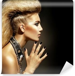 Fashion Rocker Style Model Girl Portrait. Hairstyle Vinyl Wall Mural