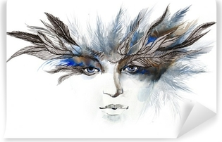 feathers around eyes (series C) Vinyl Wall Mural