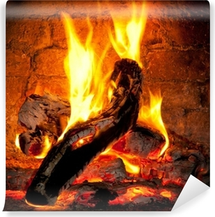 Fire burning in the fireplace Vinyl Wall Mural