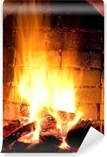 fire in fireplace Vinyl Wall Mural